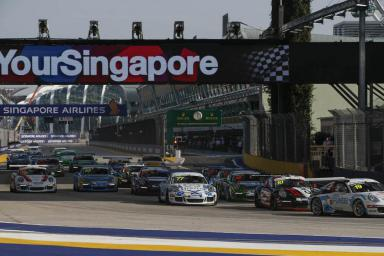Skirmish in the Singapore streets as Team Porsche Holding's Martin Ragginger executes  flawless finish