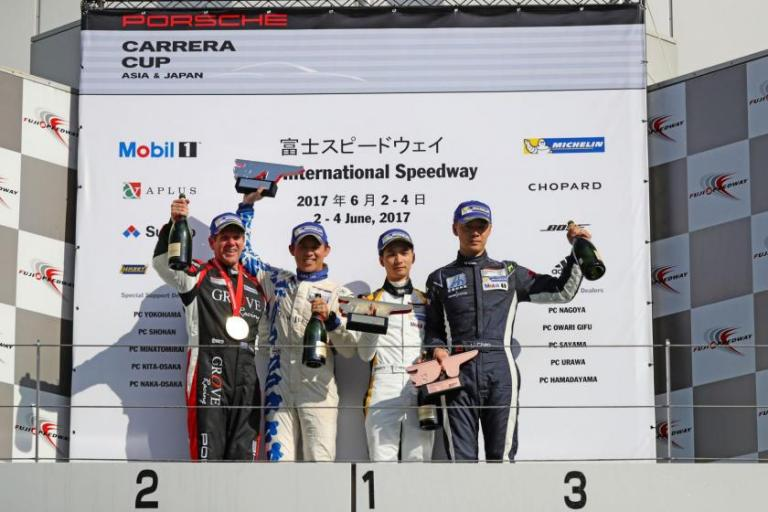 Ragginger rockets Team Porsche Holding to first after flawless lights to flag win in Round 3 at Fuji