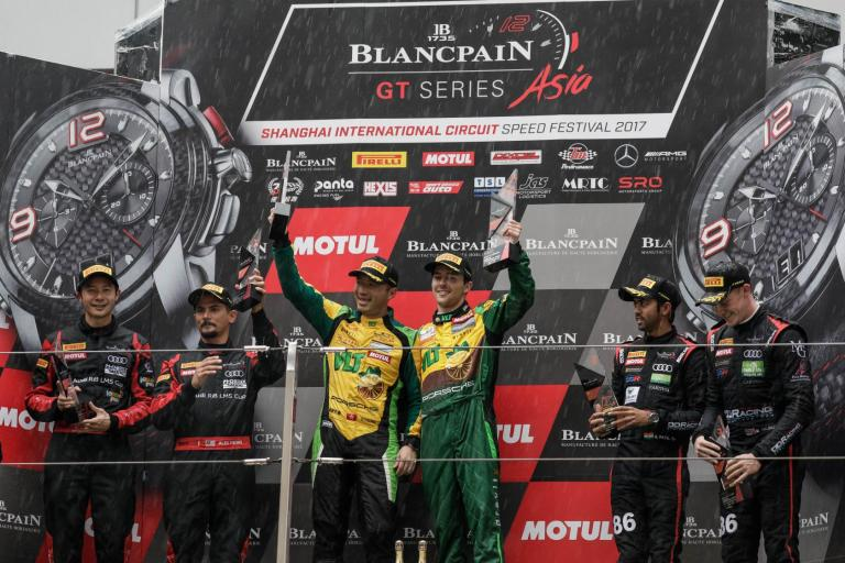 Blancpain GT Series Asia: Craft Bamboo Racing triumphs with Porsche's first win in wet weekend at Shanghai International Circuit